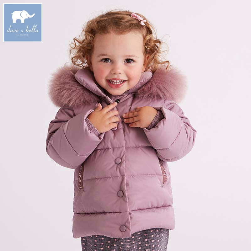 DB5990 dave bella winter baby  girls down jacket children white duck down padded coat kids hooded outerwear db4088 dave bella baby girls padded clothing hooded padded coat outerwear kids down jacket