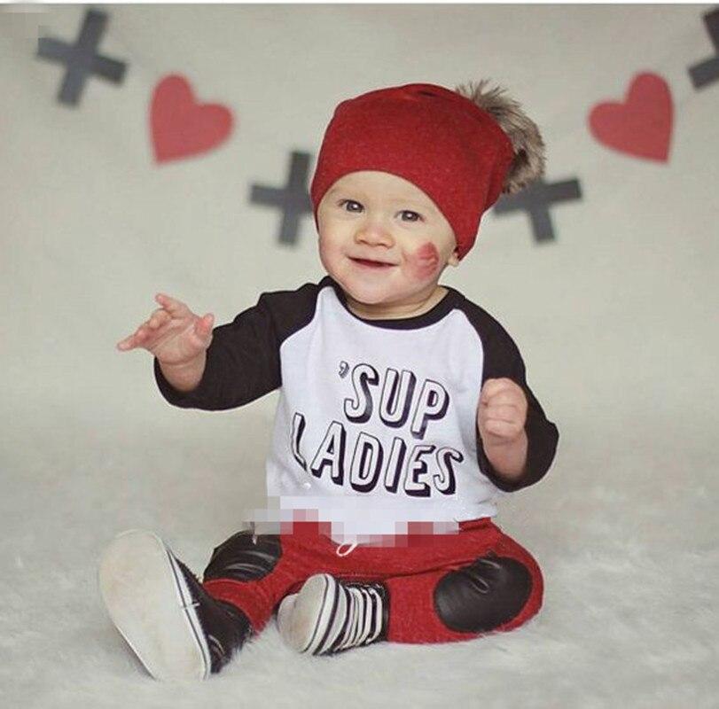 2016 Spring Autumn Fashion Letter Sup Ladies Printed Long Sleeve T Shirt Pants 2pcs Baby Boy