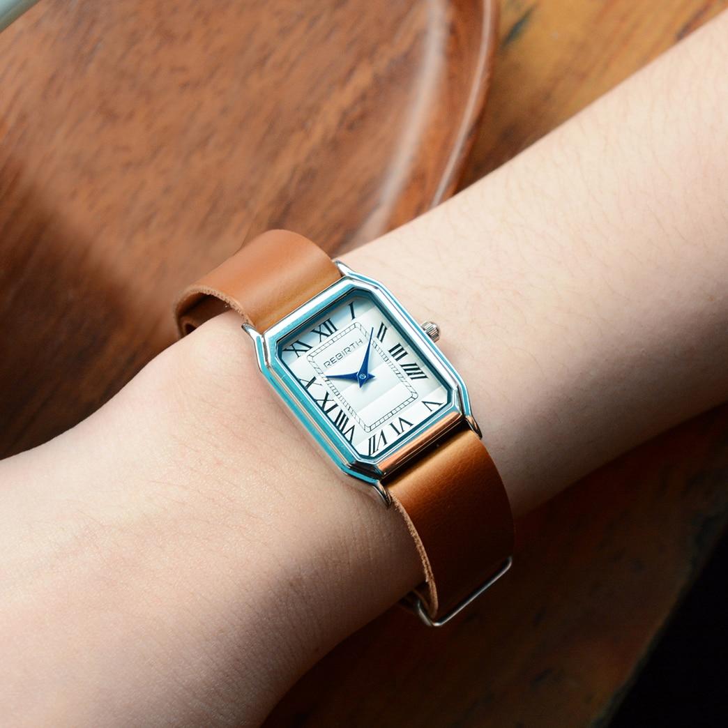 New 2018 Simple Women Watch REBIRTH Top Luxury Brand Leather Strap Quartz Rectangle Roman Numerals Ladies Watches Female Gift