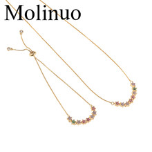 Gelang dan Kalung Set String Bintang Membuka Colorful Kubik Zirconia Plat Emas Perhiasan Set 2019 Molinuo(China)