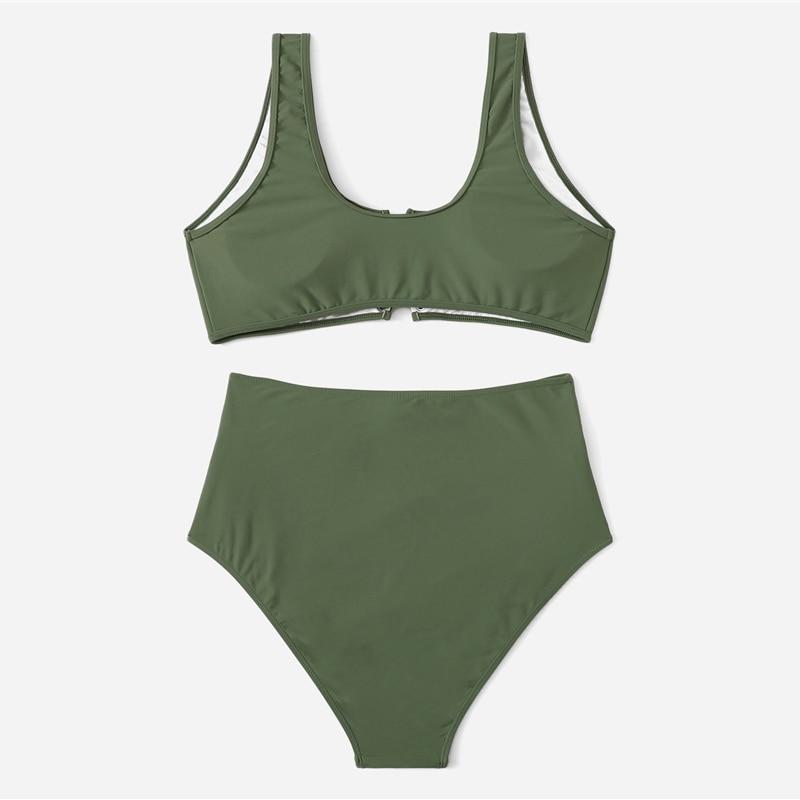 Army Green Plus Size Bikini With Chest Pad 6