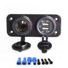 цена на 12V Dual USB Motorcycle Car BoatCharger Power Supply Socket Splitter Power Adapter 2.1A Panel