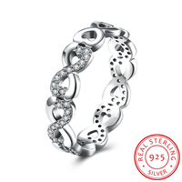 HERMOSA Popular 100 925 Sterling Silver Infinite Love Stackable Ring Clear CZ Finger Ring Women Luxury