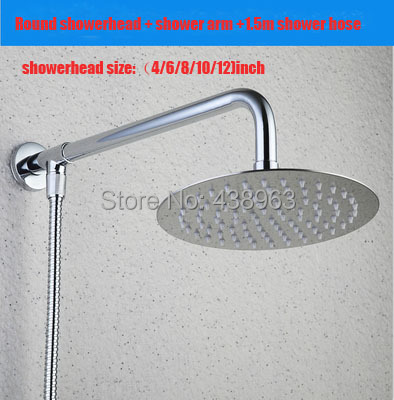4/6/8/10/12)inch stainless steel Rainfall Shower head arm 1.5m shower hose bathroom accessories - Karlshine faucet Store store
