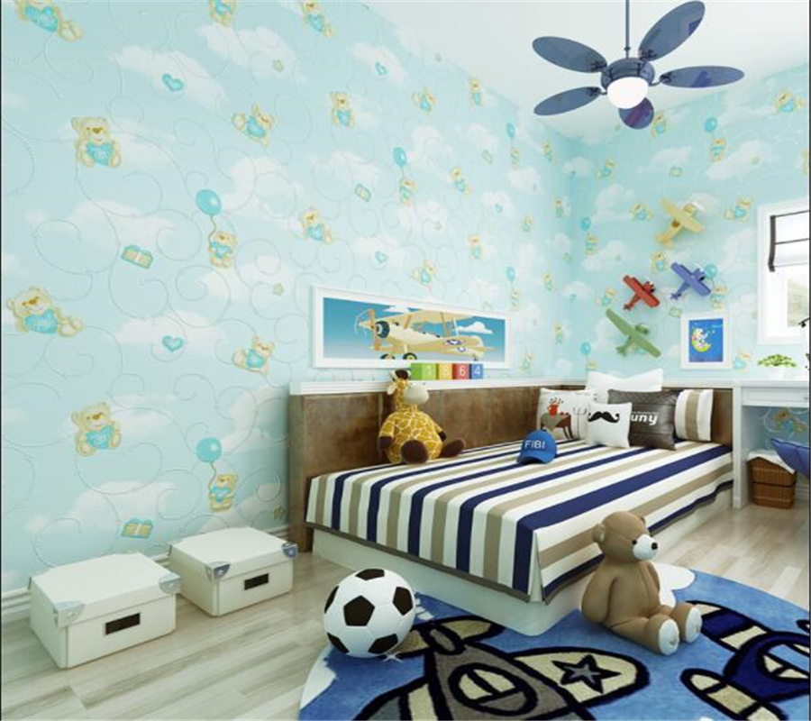 Fine cartoon bear wallpaper blue pink princess room blue sky white clouds boy girl bedroom wallpaper papel de parede Beibehang beibehang environmental non woven boy girl warm cartoon children s room blue sky clouds balloon wallpaper