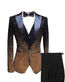 Mens 3 Pieces Sequins Mixed-Color Suits Party Blazer Stylish Shining Bling Prom Wedding Suit Tuxedos & Pants Vest