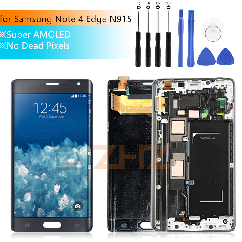 SUPER AMOLED For SAMSUNG Galaxy Note 4 Edge lcd N915 N915FD N915F LCD touch screen Digitizer