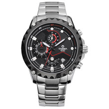 Men's watch stainless steel quartz watch outdoor sports fashion luminous chronograph stopwatch waterproof 100m CASIMA #8203