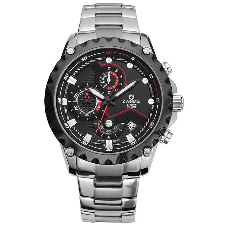 Prix pour Hommes montre à quartz en acier inoxydable montre de sports de plein air mode lumineux chronomètre chronomètre étanche 100 m CASIMA #8203