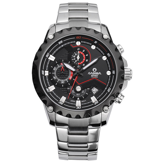 Men's watch stainless steel quartz watch outdoor sports fashion luminous calculagraph stopwatch waterproof 100m  CASIMA #8203