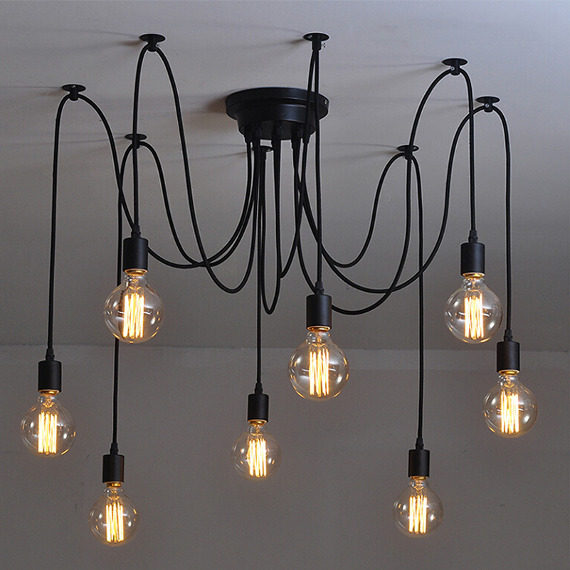 Retro Edison Bulb Light Chandelier Vintage Loft Adjustable DIY E27 Spider Ceiling Lamp cafe living room bar Fixture Light nordic vintage chandelier lamp pendant lamps e27 e26 edison creative loft art decorative chandelier light chandeliers ceiling