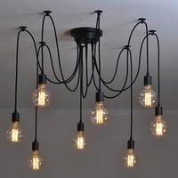 Retro Edison Bulb Light Chandelier Vintage Loft Adjustable DIY E27 Spider Ceiling Lamp Cafe Living Room