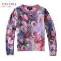 FIRS CRIANÇAS 2016 novas Crianças roupas definir crianças conjuntos de roupas de primavera do bebê meninas blusas básicas de malha camisola childern desgaste quente