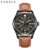 Parnis 44 мм механические часы Miyota 21 Jewels Big pilot военные часы Автоматические Мужские часы 2018 сапфировые хрустальные наручные часы