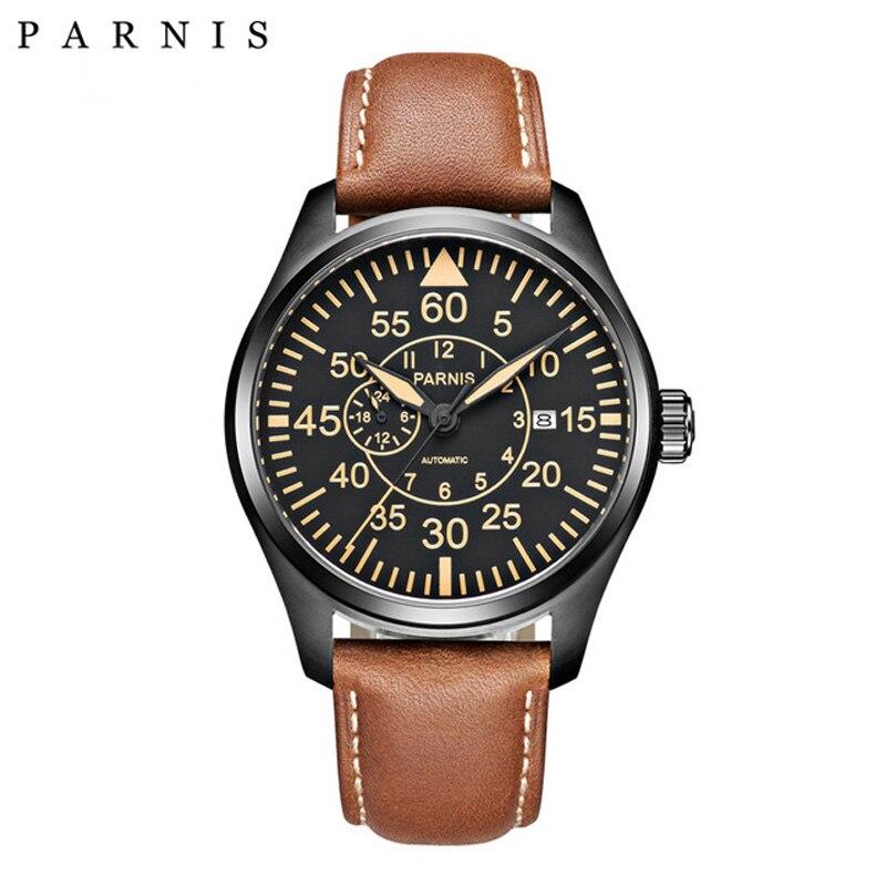 Parnis 44mm 기계식 시계 miyota 21 보석 큰 파일럿 군사 시계 자동 남자 시계 2018 사파이어 크리스탈 손목 시계-에서기계식 시계부터 시계 의  그룹 1