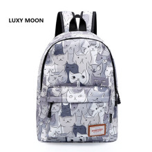 Luxy Moon New Fashion Women Gilrs Shoulder Backpack  College Students Wild Cat Pattern Printing Nylon School Travel Bag