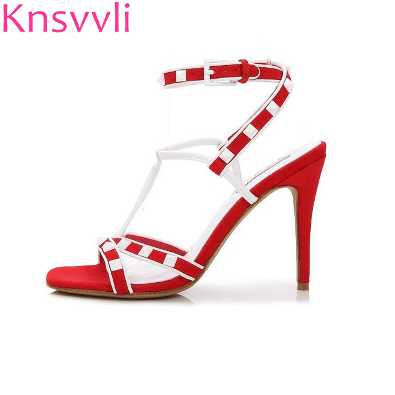 Summer New Style Rivet Fashion Cross Strap Woman Pumps One Word Buckle Mixed Color High Heel Sandals Women xiaying smile summer woman sandals women pumps buckle strap high thin heel fashion casual sexy bling rivet rubber women shoes