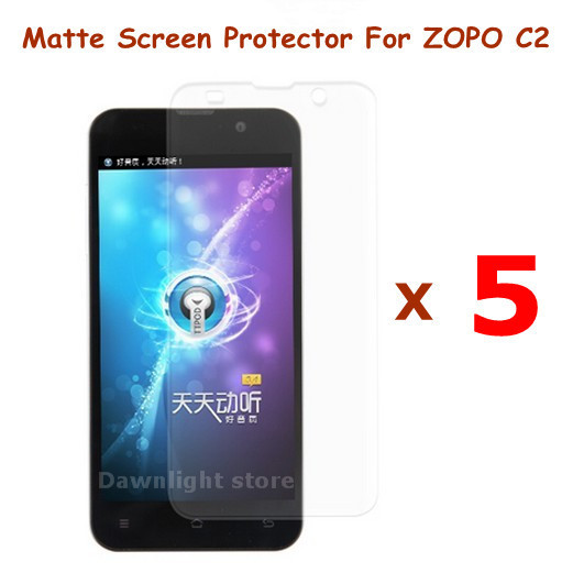 5 Pcs/lot of Matte Anti-Scratch Screen Protector Film For ZOPO C2 Android Smart Cell Phone , free shipping