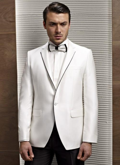 Man Slim Bal Ivoire as Pantalon D honneur Revers Tuxedos Made As Costumes  Fit Mariage Veste ... d10f00f908b