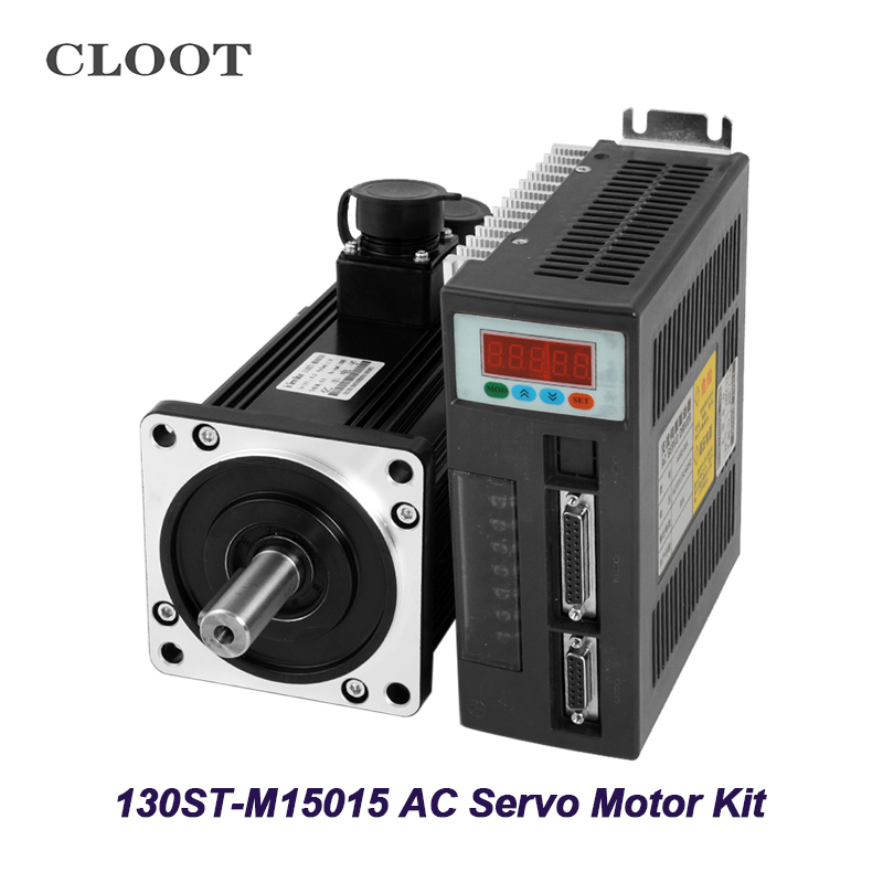 130ST-M15015 AC Servo Motor Kit 1500rpm 2.3KW Servo Motor CNC Motor Matched Driver With 1pcs 3M Encoder Cable mfeca0030esd 3m encoder feedback cable for pana sonic 0 9kw 5kw ac servo motor