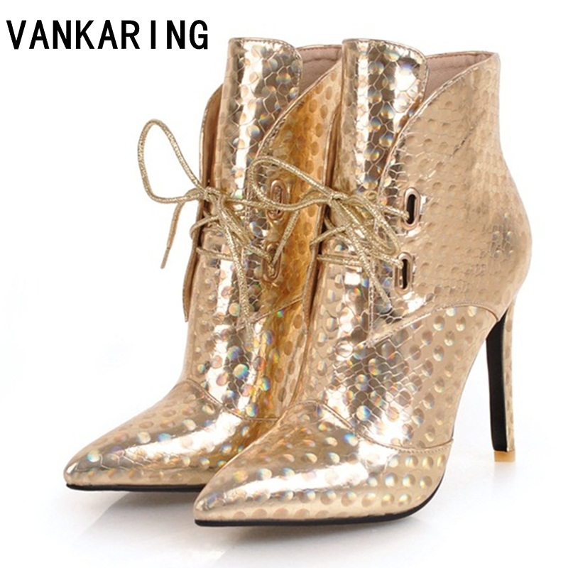VANKARING silver patent leather ankle boots high heels boots women winter female shoes sexy pointed toe botas woman autumn boots цена