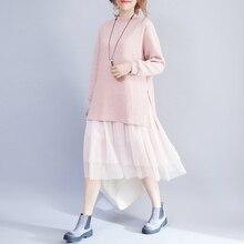 Весенние удобные Для женщин трикотажные Платья-свитеры Элегантный Симпатичные сетки лоскутное длинное платье розовый синий свободные плюс Размеры дамы Платья для женщин