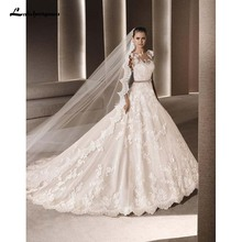 Sexy Court Train Ball Gown Wedding Dresses 2016 High neck Floor length wedding Grown Party Vestidos de Nova Custom Made