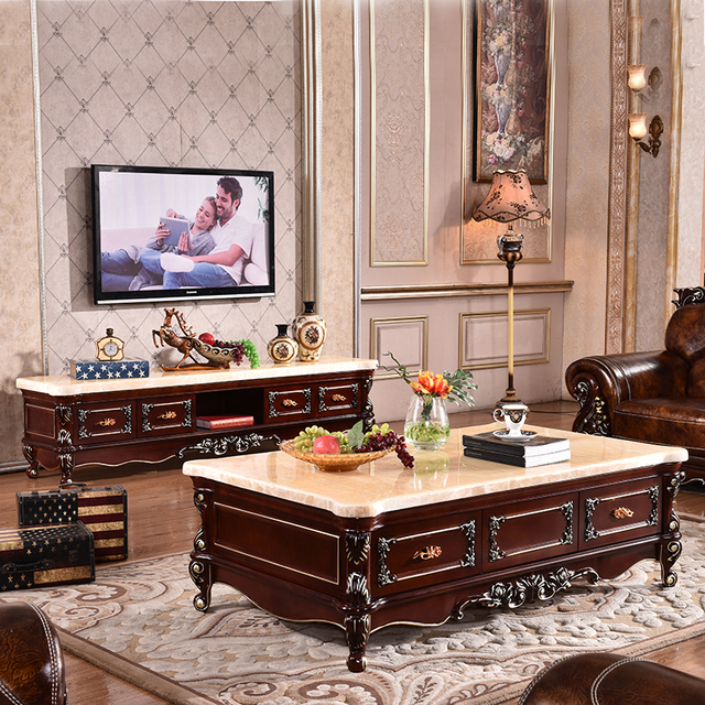 Continental Carved Wood Coffee Table Marble TV Cabinet Combination Of Red  Furniture Described Gold And Silver