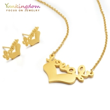 Yunkingdom Letters Love Heart Jewelry Sets for Women Stainless Steel Necklaces Earrings Sets Lovely Jewelry