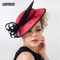 Women's Hats and Fascinators Vintage Sinamay Sagittate Feather Fascinator with Headband tocados sombreros bodas free shipping