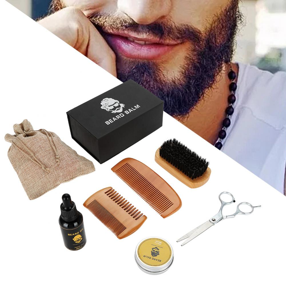Beard Care Shave Set With Bread Oil,Balm,Brush,Comb,Scissors And Bag Kits Shaping Mustache Moisturizing Trimming Beard Care Sets 1