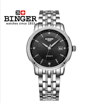 2017 new design men's luxury fashion brand watches Stainless steel high quality automatic date military Binger watch