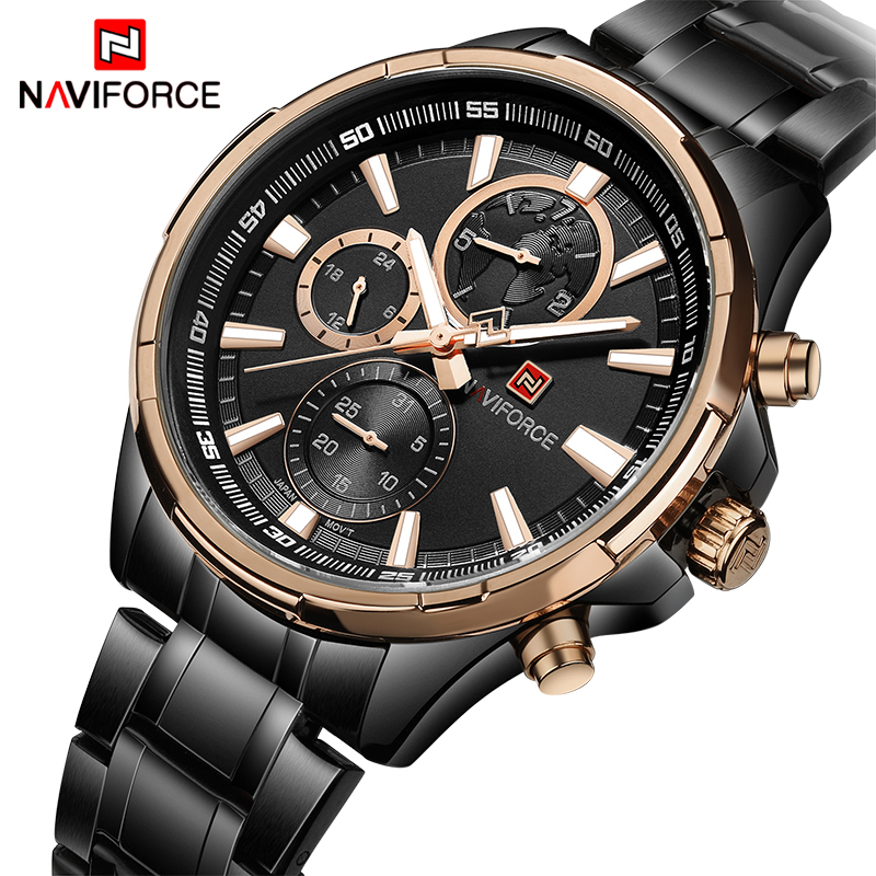 Top Luxury Brand NAVIFORCE Men's Business Watches Men Quartz 24 Hours Date Clock Man Full Stainless Steel Sports Wrist Watch