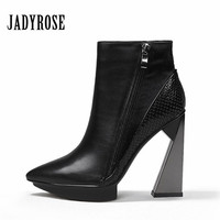Jady Rose Sexy Black Women Ankle Boots Pointed Toe Platform Pumps Female Short Booties 11CM Strange High Heel Shoes Woman