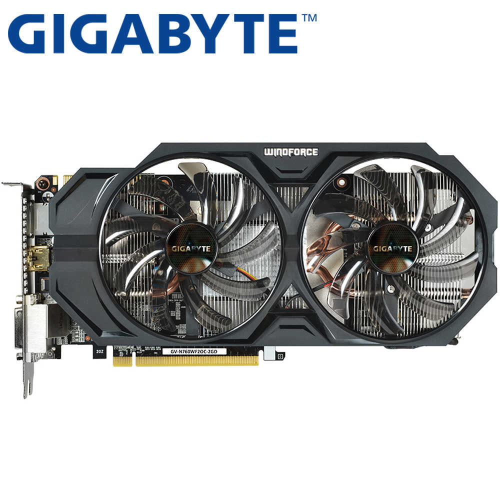 Used Gigabyte GTX 760 2GB Video Card 256Bit GDDR5 Graphics Cards for nVIDIA Geforce VGA Cards GTX760 Dvi Hdmi game