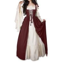 2pcs Fashion Women Sets Cosplay Costumes Dresses Bandage Vest Long Sleeve Suits Vintage Long Dress Medieval Costume Party Cos стоимость