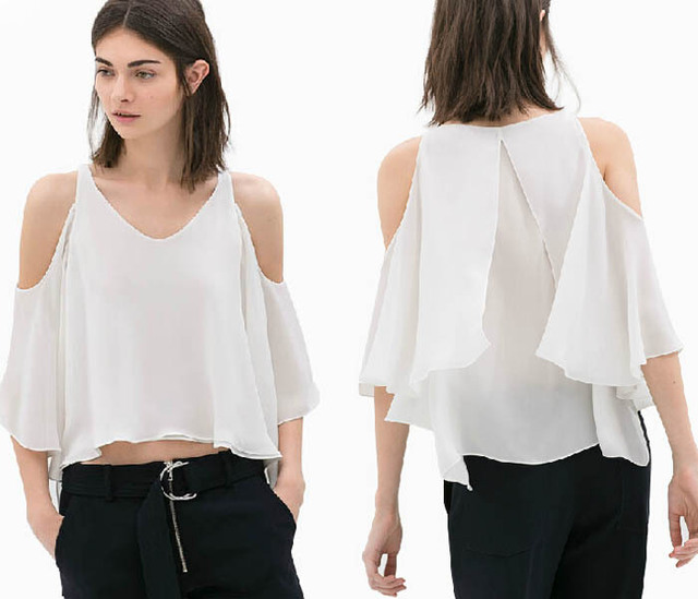 8cdbcf1765aba1 2015 New Hot Sale Sexy Womens Crop Tops Shirt Ruffled Vest Cold Shoulder  Slit Layered Chiffon Top Clubwear Party Tank Blouse