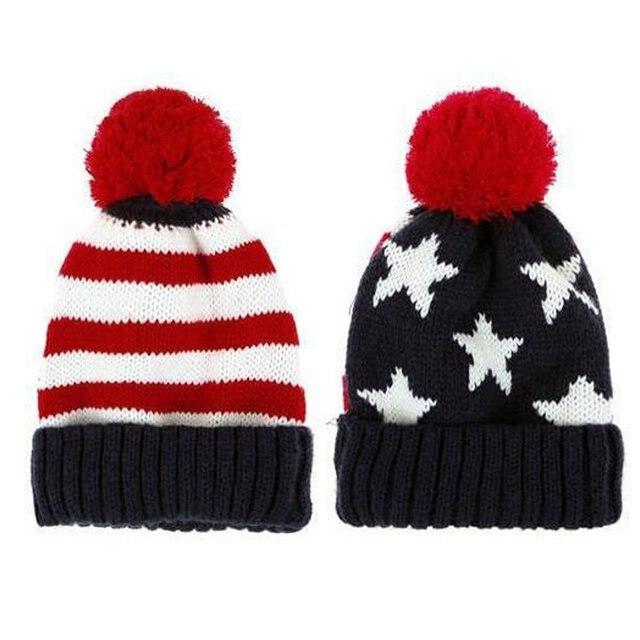 3ae421a1dffd US Flag Knit Beanie Crochet Rib Pom Pom Hat Cap Blue   Red-in ...