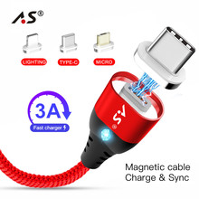 A.S LED Magnetic Cable For Lightning Micro USB Type C Phone Cable for iPhone X 8 7 6 5 Xiaomi 1m Phone Charge Magnet Charger binful 87w usb c power adapter charger for macbook 121315 inch with 1m type c cable for lightning apple iphone x 8 7 6 plus