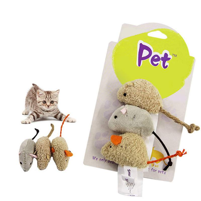 Rat Squeak Noise Sound Pet Cat Kitten Dog Plush Simulation Mouse Cat Toy Playing Toy Cats Feeding Animals 3pcs/set
