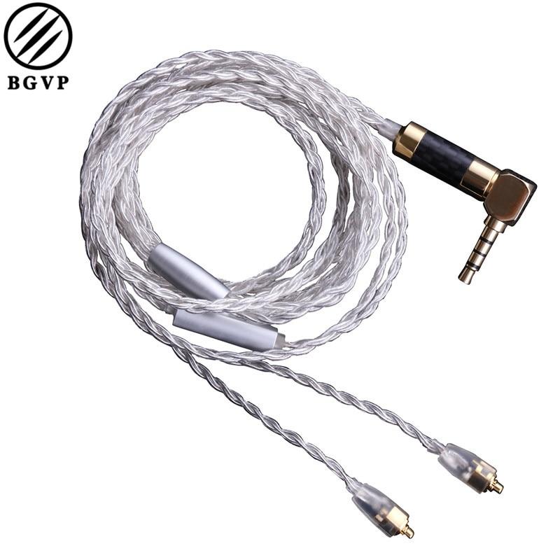 BGVP DM5 5N OCC Argent Plaqué sans Micro/avec Micro Câble MMCX Mise À Niveau Écouteur Câble pour Shure pour UE MMCX Écouteurs Casques