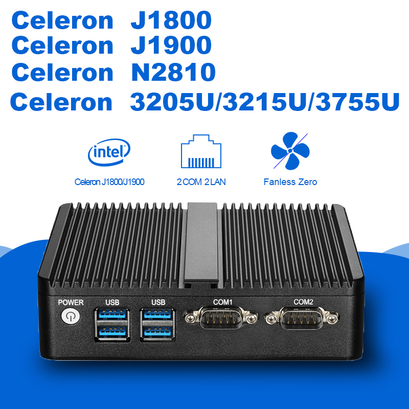 Fanless Mini PC Windows 10 4GB RAM Celeron J1800 J1900 3205U 3755U 2 LAN 2 RS232