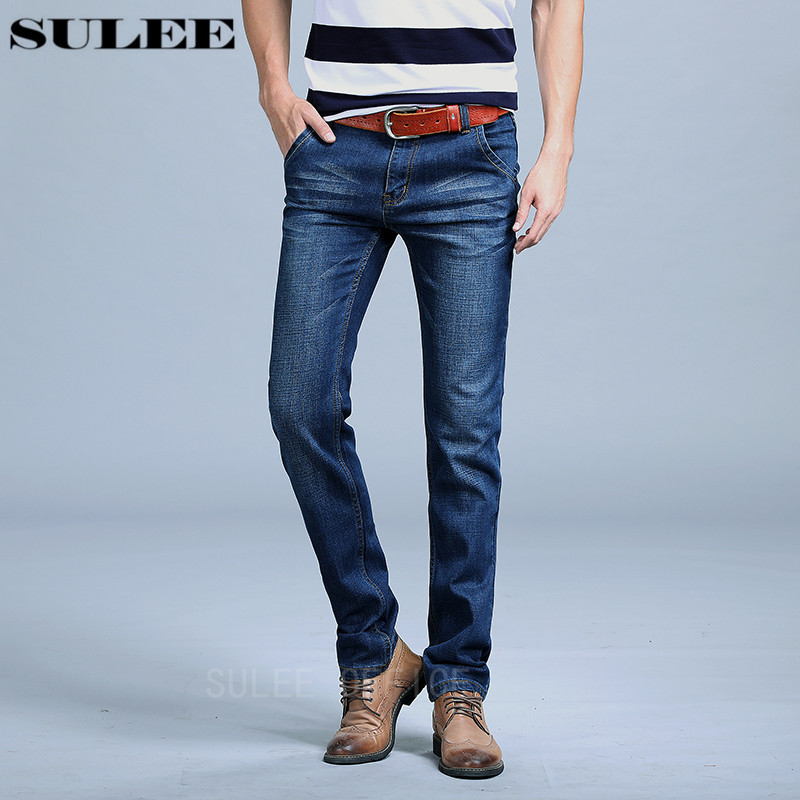 SULEE Brand 2017 Fashion Men Elastic Jeans Men's Casual Designer Denim Pants Slim Regular Straight Fit High Quality (no Belt) sulee brand 2017 new fashion business men jeans cotton denim jeans casual straight washed pants stretch jeans plus size 28 40