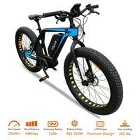 VTUVIA 26'' Fat tire E bike 13Ah Samsung Li ion Battery Electric Bicycle 48V 350W Mid Drive 10 speed Mountain snow Electrci Bike