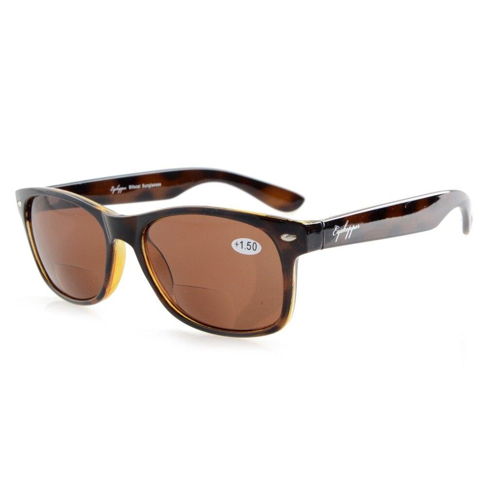 R093 Bifocale Eyekepper Classique Bifocale lunettes de Soleil Hommes Femmes (Gris Lentille/Brun Lentille) + 1.0/1.25/1.5/1.75/2.0/2.25/2.5/3.0