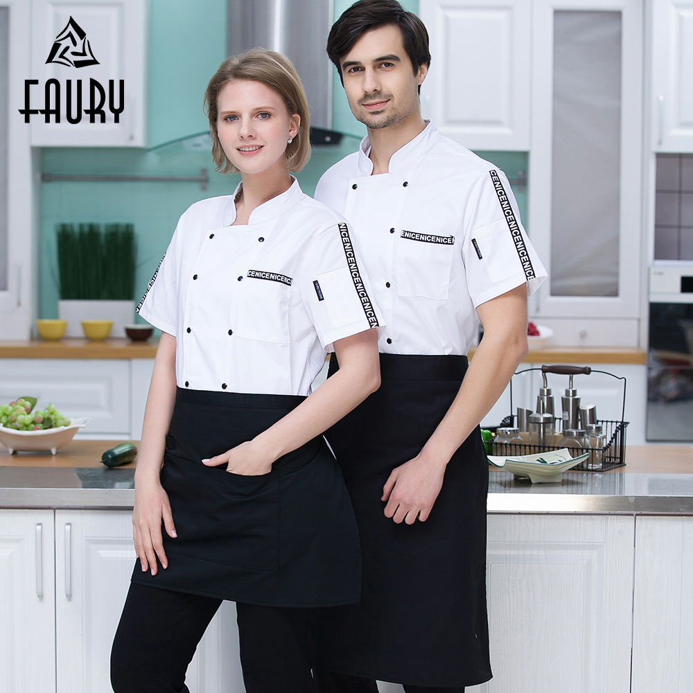 Short-sleeved Breathable Plus Size Chef Jackets Bakery Catering Hotel Waiter Restaurant Kitchen Cook Tops Soft Men Work Uniforms