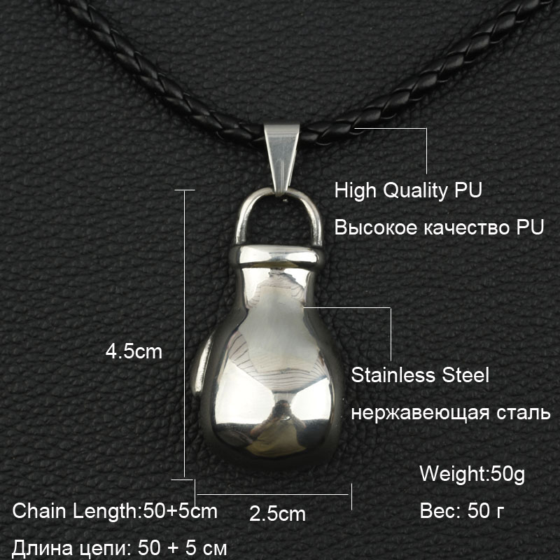 Boxing Glove Necklace Choker Men Adjustable PU Leather Chain Stainless Steel Pendant Charm Sport Fitness Fashion Jewelry in Pendant Necklaces from Jewelry Accessories