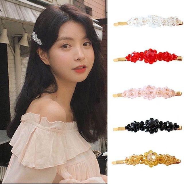 Женский корейский стиль Блеск Искусственный кристалл заколки для волос металлический сплав изогнутые заколки для волос Роскошные бисерные заколки для волос вечерние заколки