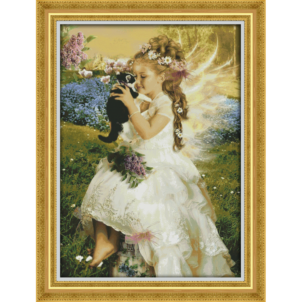 Joy Sunday The girl holding the cat Chinese cross stitch kits Ecological cotton clear stamped 11 DIY wedding decoration for homeJoy Sunday The girl holding the cat Chinese cross stitch kits Ecological cotton clear stamped 11 DIY wedding decoration for home