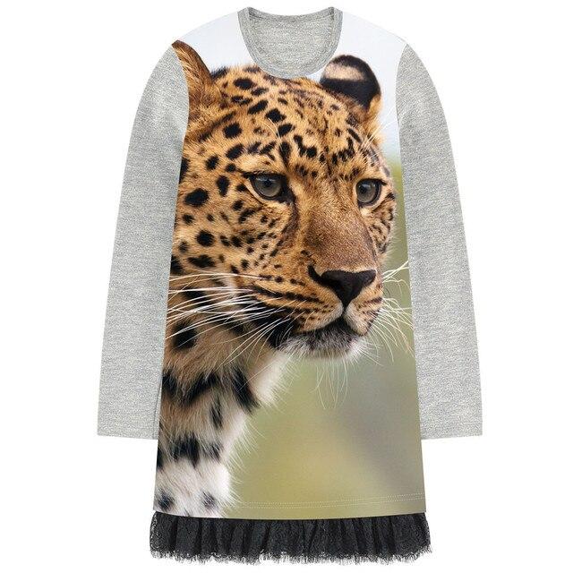 ba62cc074d659 Fille robe animal imprimé léopard 2018 automne nouveau filles de mode noir  dentelle à manches longues